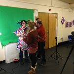 LOCWS Creative Participation Programme Featuring Woman Decorated in British Flags from Communities First West Cluster's Film-Making Course at Mayhill Community Centre