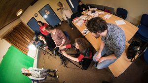 Women from Communities First South Cluster are pictured on Locws International's community film-making course in Swansea