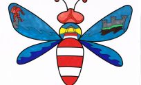 Illustrated image from Locws International's Morriston Hospital Schools Mural Project of bee showing a lighthouse as the bees body and waves on the wings.