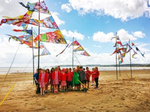 Locws International's Art Across the City Year of Legends Flags Launch with School Children