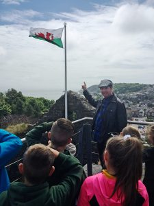 Plasmarl Primary School Pictured on a Tour of Oystermouth Castle with Locws International's Artist in Residence, Dave Marchant