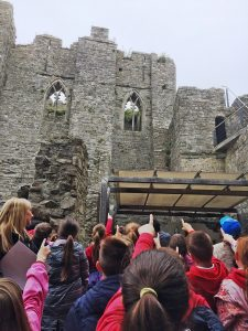 Tre Uchaf Primary School Pictured on a Tour of Oystermouth Castle with Erika Kluge
