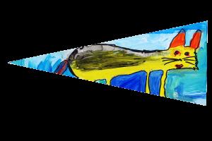 Locws International's Locws Schools Swansea Bay Legends Flag by Penyrheol School depicting a yellow cat
