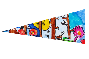 Locws International's Locws Schools Swansea Bay Legends Flag by Penyrheol School depicting an animal and flowers in a forest
