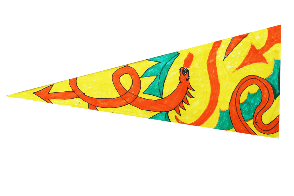 Locws International's Locws Schools Swansea Bay Legends Flag by Penyrheol School depicting a dragon swirling on the flag