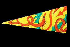 Locws International's Locws Schools Swansea Bay Legends Flag by Penyrheol School depicting a dragon swirling on the flag
